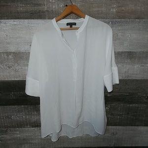 Bannana Republic white oversized linen look tunic